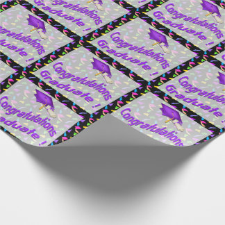 Black with Confetti Graduation Wrapping Paper