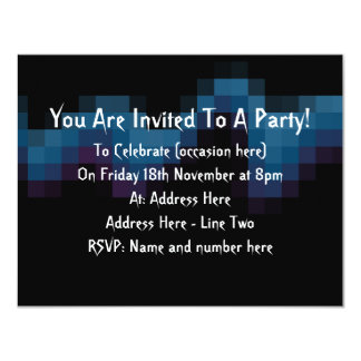"""Black with Dark Blue and Purple Squares in a Wave. 4.25"""" X 5.5"""" Invitation Card"""