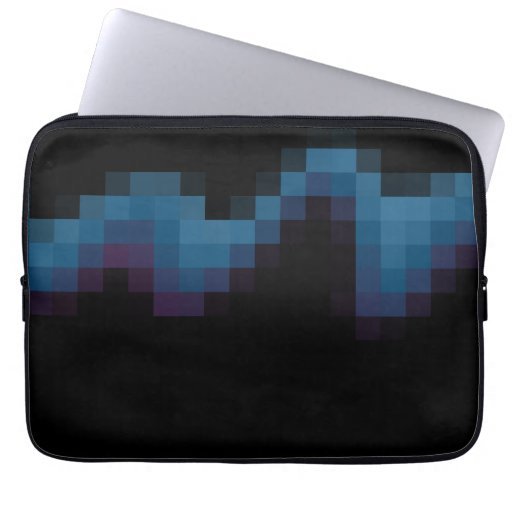 Black with Dark Blue and Purple Squares in a Wave. Computer Sleeves
