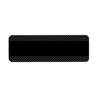 Black with diagonal dark gray border stripes label