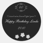 Black with Diamonds Elegant Birthday Wine Labels Sticker