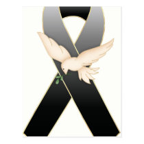 Black with Dove Ribbon Awareness Postcards