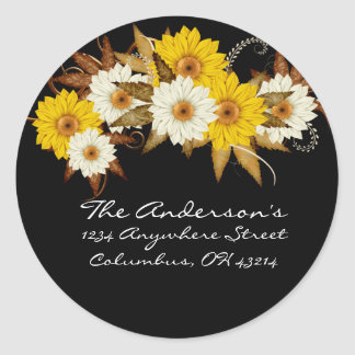 Black with Fall Flowers Address Labels Stickers