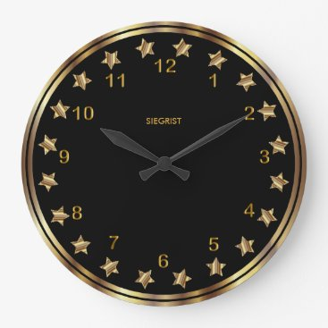 Professional Business Black with Faux Metallic Gold Star Frame Large Clock