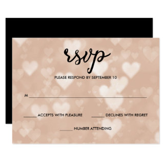 Black with Faux Rose Gold Bokeh Hearts RSVP Card