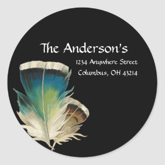 Black with Feathers Address Labels Stickers