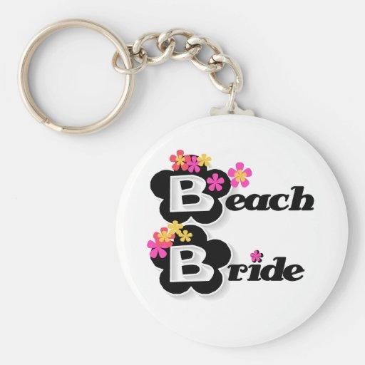 Black with Flowers Beach Bride Keychain