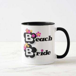 Black with Flowers Beach Bride Mug