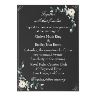 Black with Flowers Wedding Invitation