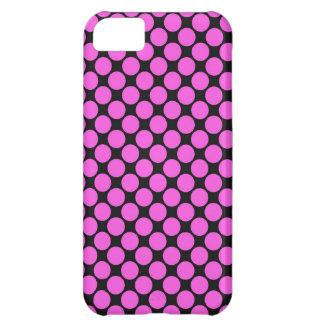 Black With Fushia Polka Dots iPhone 5C Cover