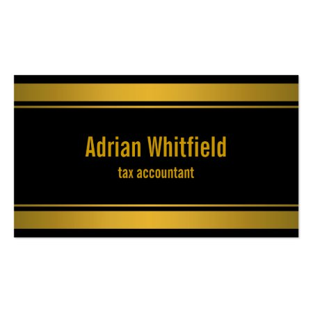 Black and Gold Stripes Double Bars Top and Bottom Border Tax Accountant CPA Calling Card