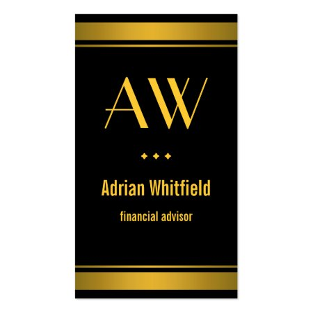 Monogram Gold Borders Black and Gold Bards Accountant Vertical Business Cards