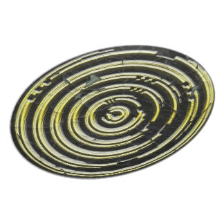Black with gold circles melamine plate