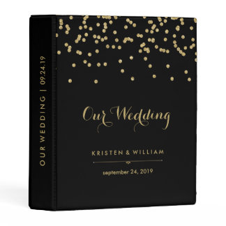 Black with Gold Confetti Wedding Notes or Photos Mini Binder