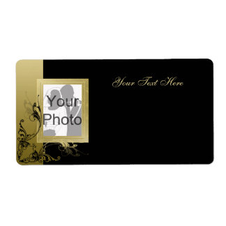 Black with Gold Effect Swirls & Photo Frame Label