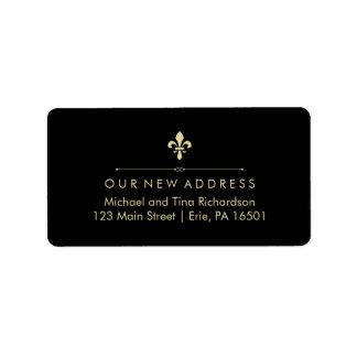 Black with Gold Fleur de Lis New Address Label