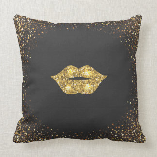 Black with Gold Glitter and Gold Lips Throw Pillow