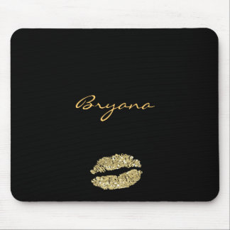 Black with Gold Glitter Kiss Lips Mouse Pad
