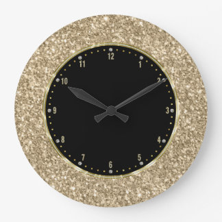 Black With Gold Glitter Texture Print Large Clock