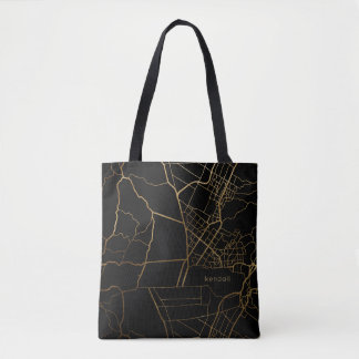 Black with Gold Look Map Add Name Tote Bag