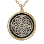 Black With Gold Metal Celtic Knot Gold Finish Necklace