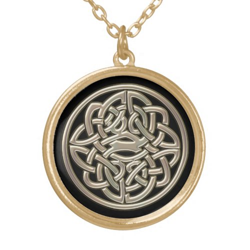 Black With Gold Metal Celtic Knot