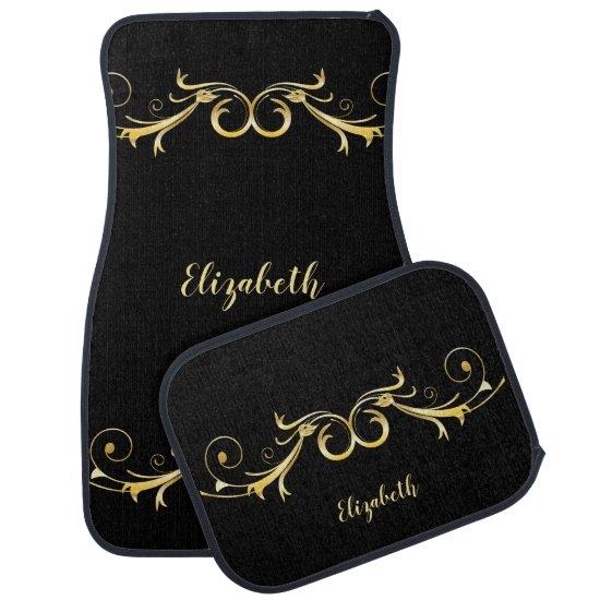 Black With Gold Ornate Swirls Monogram Car Floor Mat