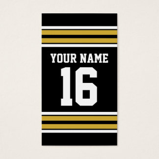 Black with Gold White Stripes Team Jersey Business Card