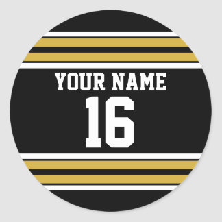 Black with Gold White Stripes Team Jersey Classic Round Sticker