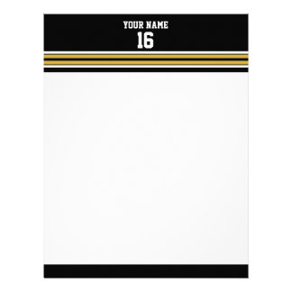 Black with Gold White Stripes Team Jersey Letterhead
