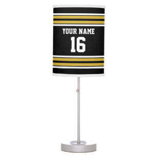 Black With Gold White Stripes Team Jersey Table Lamp
