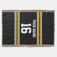 Black with Gold White Stripes Team Jersey Throw