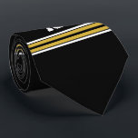 """Black with Gold White Stripes Team Jersey Tie<br><div class=""""desc"""">Preppy Sporty Black with Gold and White Stripes Team Jersey / Sports Jersey / Football Jersey with Custom Name, Custom Number Customize this with your own name or team name and a number. You can change the size, color and placement of the text if you need to make changes, add...</div>"""