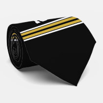Black with Gold White Stripes Team Jersey Tie