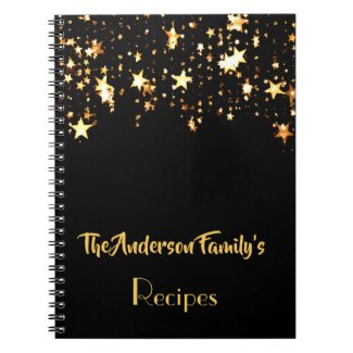 Black with golden star Family recipes notebook