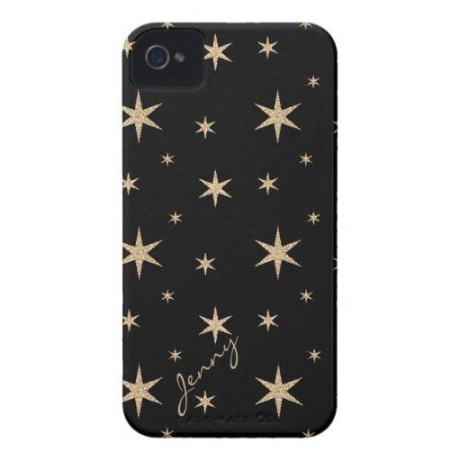 Black with Golden Stars Custom iPhone 4 Case