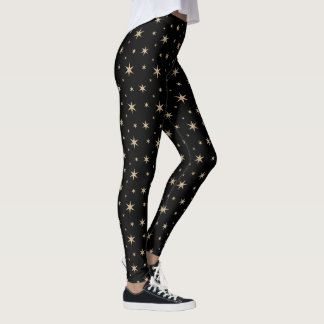 Black with Golden Stars Leggings