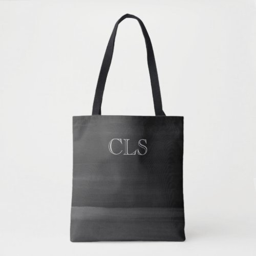 Black With Gray Watercolor Brushstrokes Initials Tote Bag