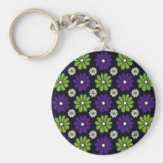 Black with Green and Purple Flowers Keychain