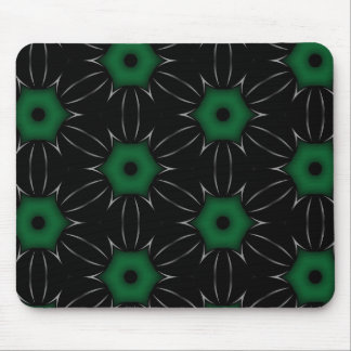 Black with Green Dot Pattern Kaleidoscope Mouse Pad