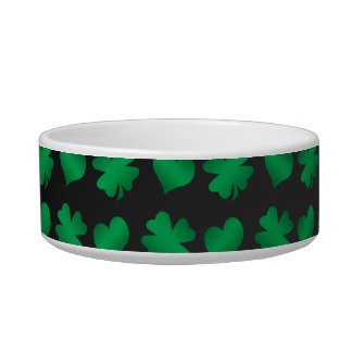 Black with green shamrocks and hearts bowl