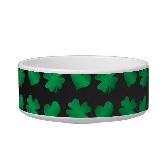 Black with green shamrocks and hearts bowl