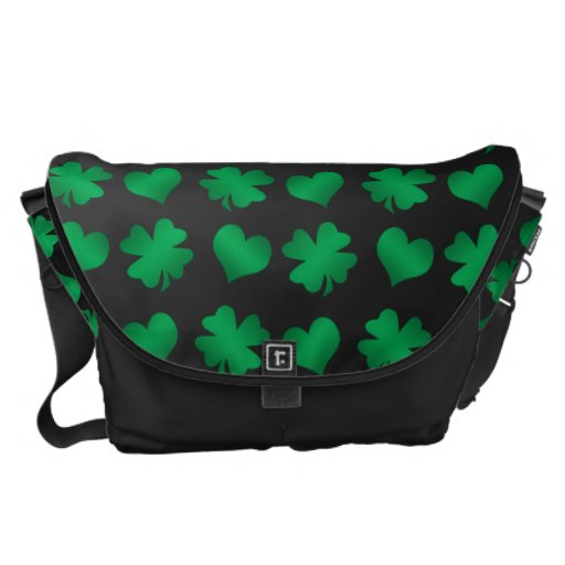 Black with green shamrocks and hearts messenger bag
