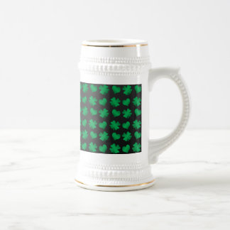Black with green shamrocks and hearts 18 oz beer stein