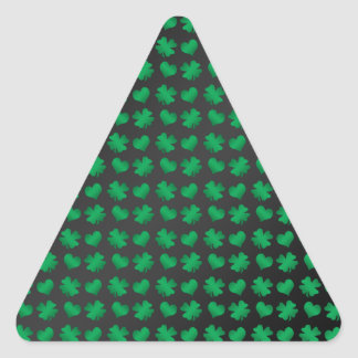 Black with green shamrocks and hearts triangle sticker