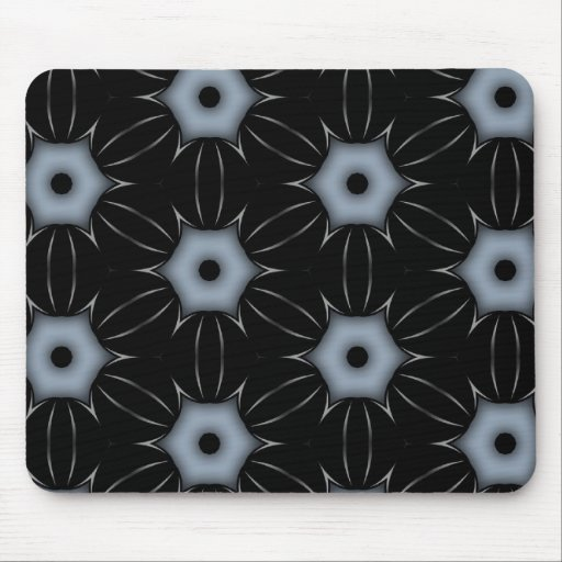 Black with Grey Dots Kaleidoscope Pattern Mouse Pad
