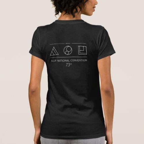 Black with grey logo womens t_shirt