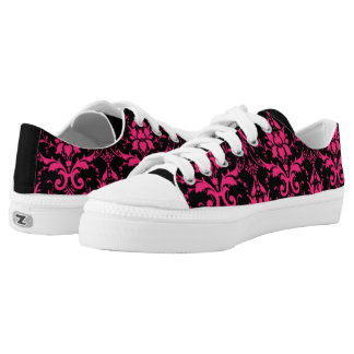 Black with Hot Pink Damask Pattern Low-Top Sneakers
