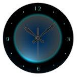 Black with Illuminated Blue/Aqua Face >Wall Clock Wall Clock