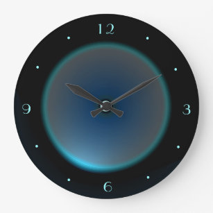 Black With Illuminated Blue/Aqua Face U003eWall Clock
